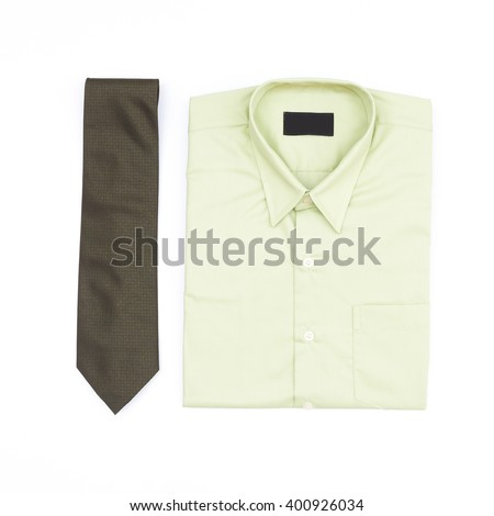 Men's outfits with green shirt and necktie on white background