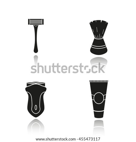 Men's shaving accessories drop shadow icons set. Shaving razor, shaving brush, electric shaver and aftershave cream. Facial hair grooming kit. Barbershop equipment.  Logo concepts. Raster illustration