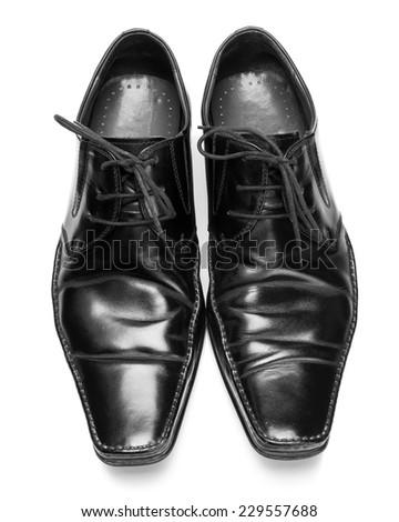 Men's shoes closeup on white background - stock photo