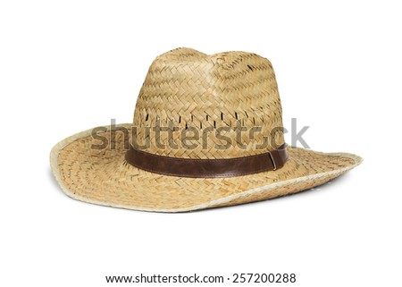 Men's straw cowboy hat isolated on white with clipping path - stock photo