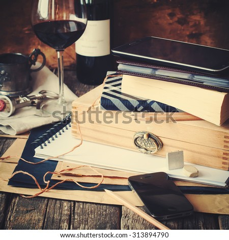Men's Stuff with Different Accessories on wooden table. Toned - stock photo