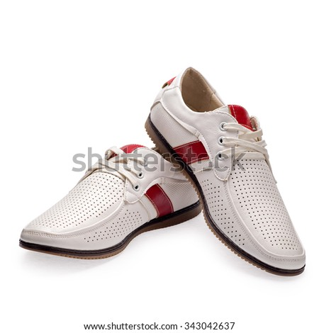 Men's summer red-white elegant leather shoes whith shoelaces on white background.