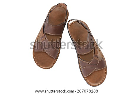 Men's summer shoes isolated on white background - stock photo