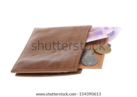 Men's wallet with Ukrainian hryvnia/Bank Notes and Coins Ukrainian hryvnia