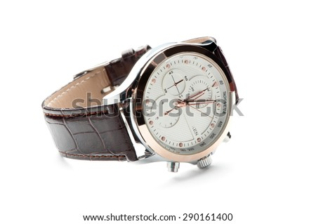 Men's watch with leather strap and white dial, isolated on a white background - stock photo