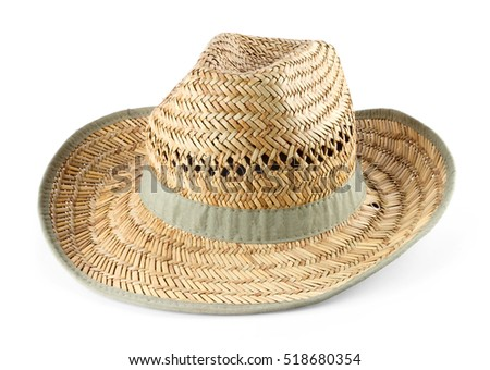 Men's woven straw hat, isolated on white background