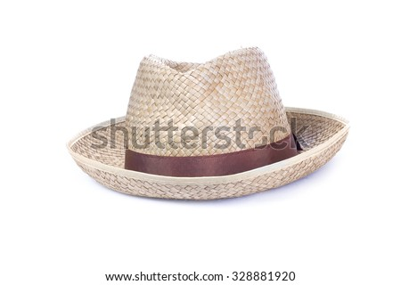 men's woven straw hat isolated white background - stock photo