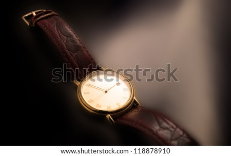 men's wrist silver watch isolated on black