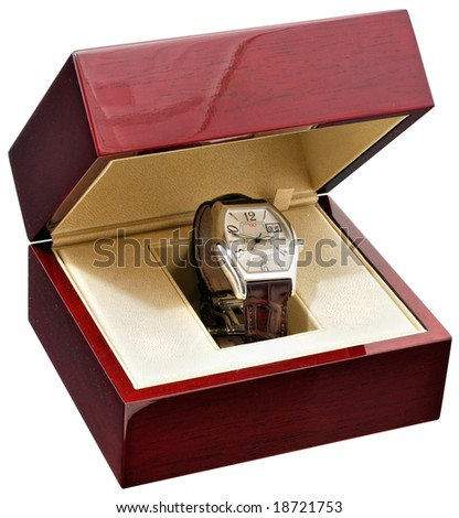 Men's wrist watch in mahogany box on white background