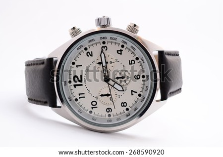men's wristwatch on a white background - stock photo