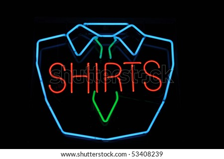 Men Shirt and Tie Neon Sign Advertisement - stock photo