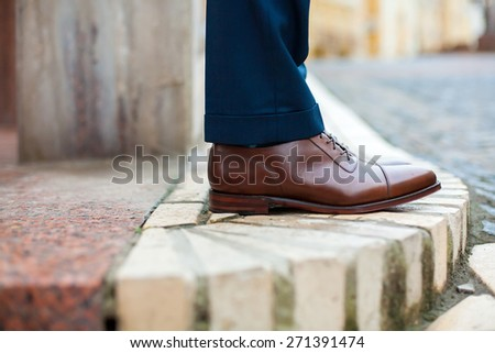 men shoes street city walk  - stock photo