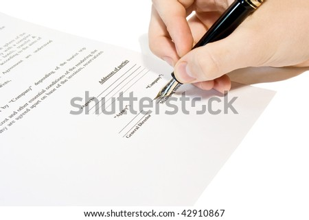 Men sign contract - stock photo