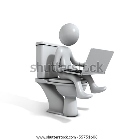 Men sitting on the Toilet. There is a white Laptop in his hand. He is working. Three-dimensional Shape, isolated on white