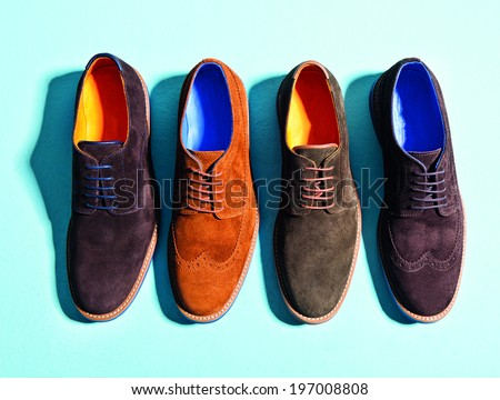 men  suede shoes isolated background - stock photo