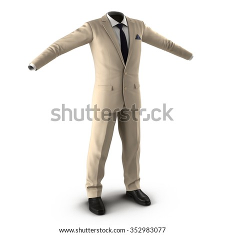 Men Suit on White Background
