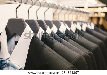 Men suits in a clothing store