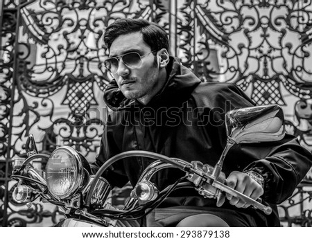 men sunglasses mini bike fashion  - stock photo