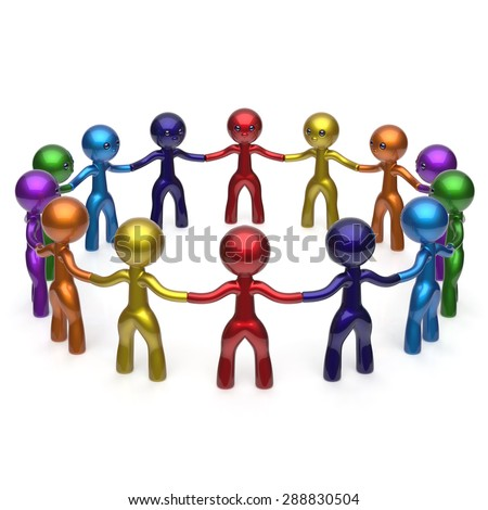 Men together circle social network characters worldwide large group people teamwork friendship individuality team different cartoon friends unity human resources concept colorful. 3d render isolated - stock photo