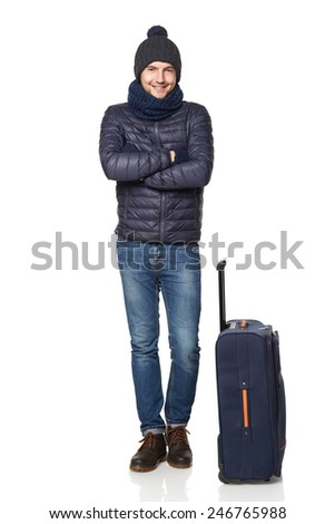 Men tourist. Young man standing with suitcase, isolated on white background - stock photo