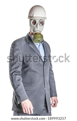 Men wearing a blue business suit and gas mask symbolizing danger in the environment