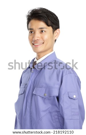 Men wearing work clothes - stock photo