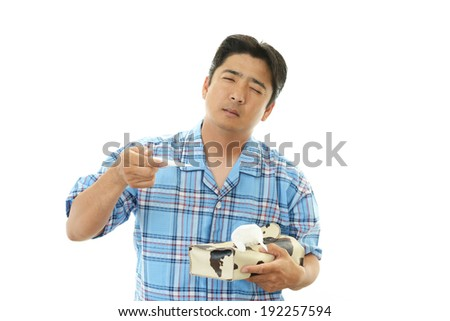 Men who were suffering from cold - stock photo