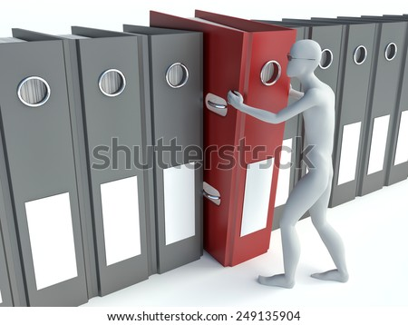 Men with archive from folders on white isolated background - stock photo