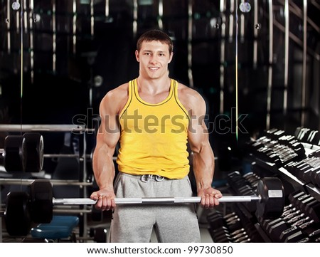 men with barbell - stock photo