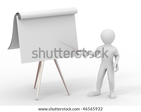 Men with empty board. 3d