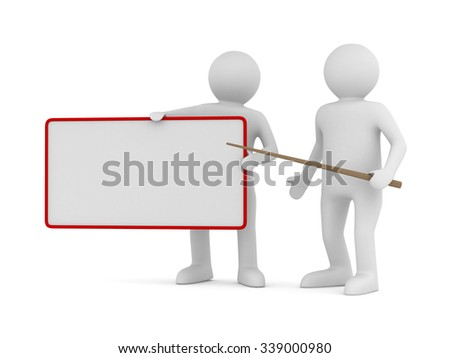 Men with empty board. Isolated 3d image - stock photo