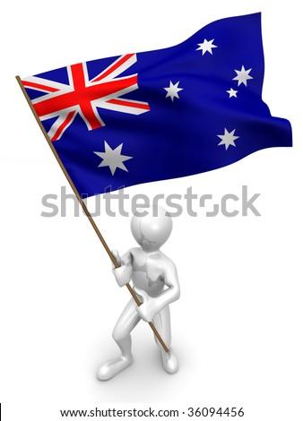 Men with flag. Australia. 3d - stock photo