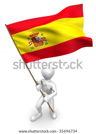 Men with flag. Spain. 3d - stock photo