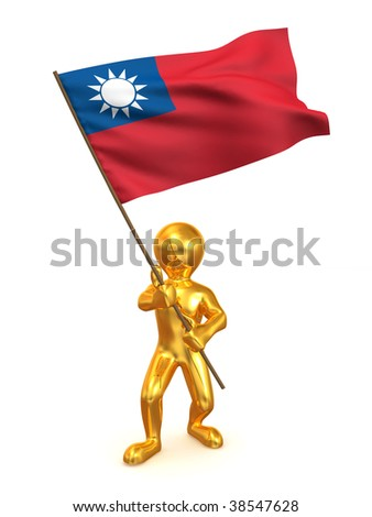 Men with flag. Taiwan. 3d - stock photo