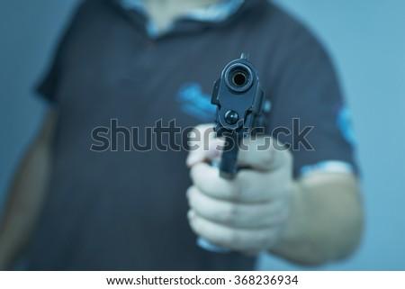 men with gun - stock photo