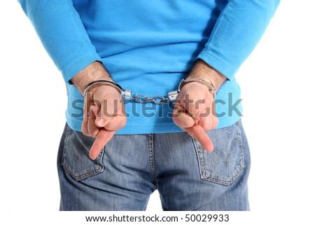"Men with handcuffs making ""the finger"", isolated on white background"