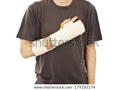 Men with his broken right arm.  Isolated on white background  - stock photo
