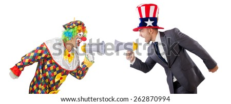 Men with loudspeaker and american hat - stock photo