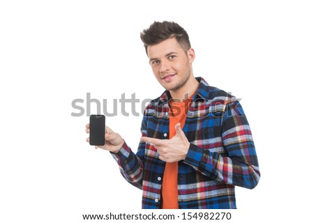 Men with mobile phone. Cheerful young men holding the mobile phone and pointing it while standing isolated on white