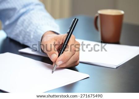 men with pen - stock photo
