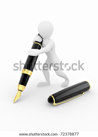 Men with pen on white isolated background. 3d - stock photo