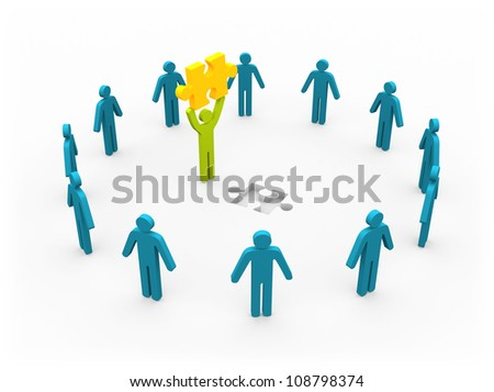 Men with puzzle - conceptual image on white background