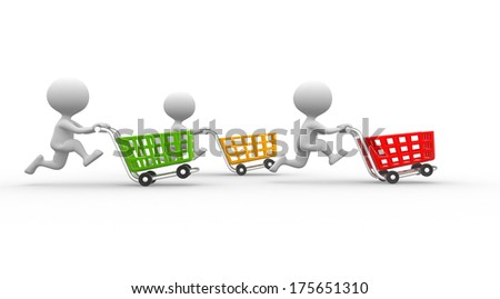 men with shopping carts - stock photo