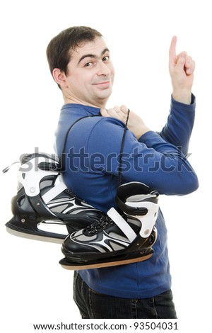 Men with skates points his finger on white background.