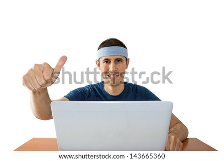 men with thumbs up online betting on white background - stock photo