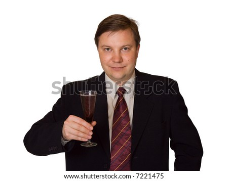 Men with wine glass, isolated on white background - stock photo