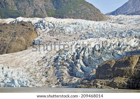 Mendenhall Glacier in Tongass National Forest, Alaska - stock photo