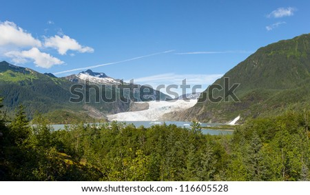 Mendenhall Glacier Panorama - stock photo