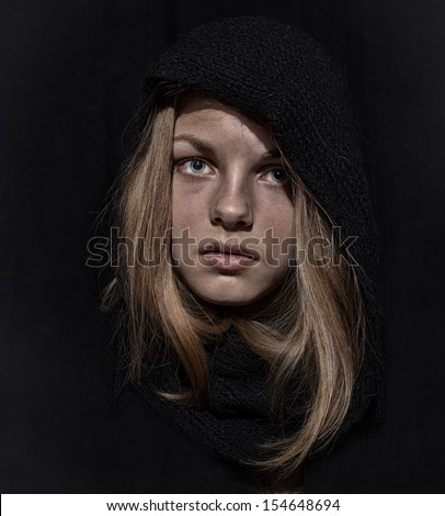 mendicant with dirty face  - stock photo