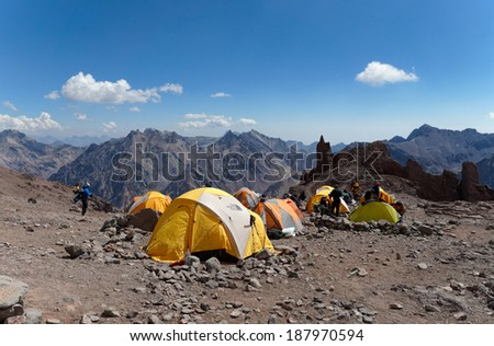MENDOZA, ARGENTINA - JAN 14: Canada High altitude camp. At 4,900 meters, is the first high altitude camp in the difficult way to the summit on Jan 14, 2014 in Aconcagua Mount, Mendoza, Argentina.